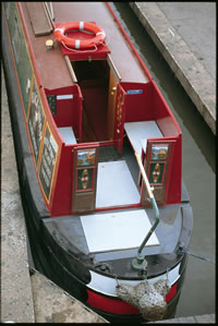 Semi Traditional stern of a narrowboat
